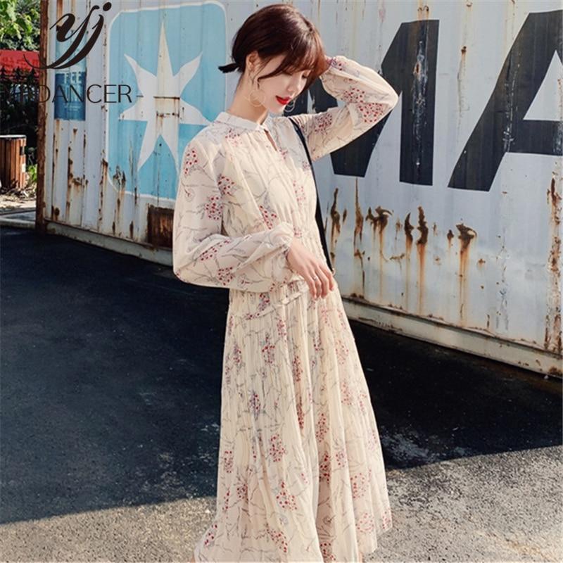2019 printemps été nouveau femmes la robe à manches longues doux vent frais doux en mousseline de soie robe élégante longue Vestidos femme YZH744