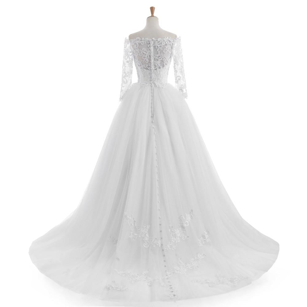 Elegantní Vestido De Novia Vintage bílé plesové šaty svatební - Svatební šaty - Fotografie 2