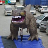 5mH 10mL Giant Inflatable Dinosaur Outdoor Inflatable Tyrannosaurus Rex Model for Halloween Exhibition Advertising Party Decor