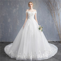 2019 Summer New Bridal Wedding Dress White Lace Boat neck Sleeveless Long Wedding Dress Elegent Vintage Beautiful Weding Dress
