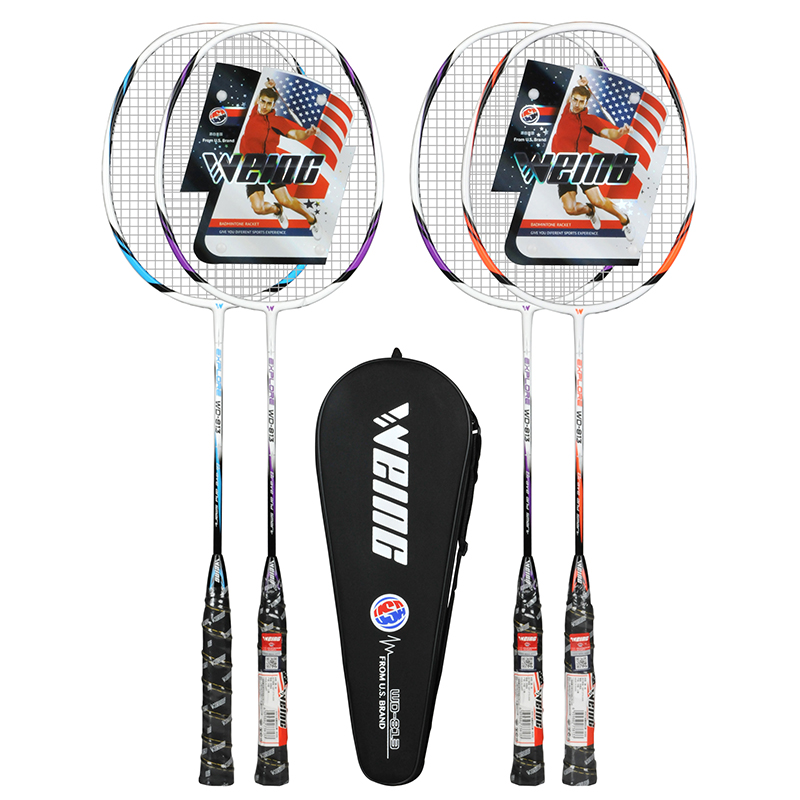 WEING 813 Carbon Fiber Badminton Racket With Bag Raket Racquet Padel Raqueta
