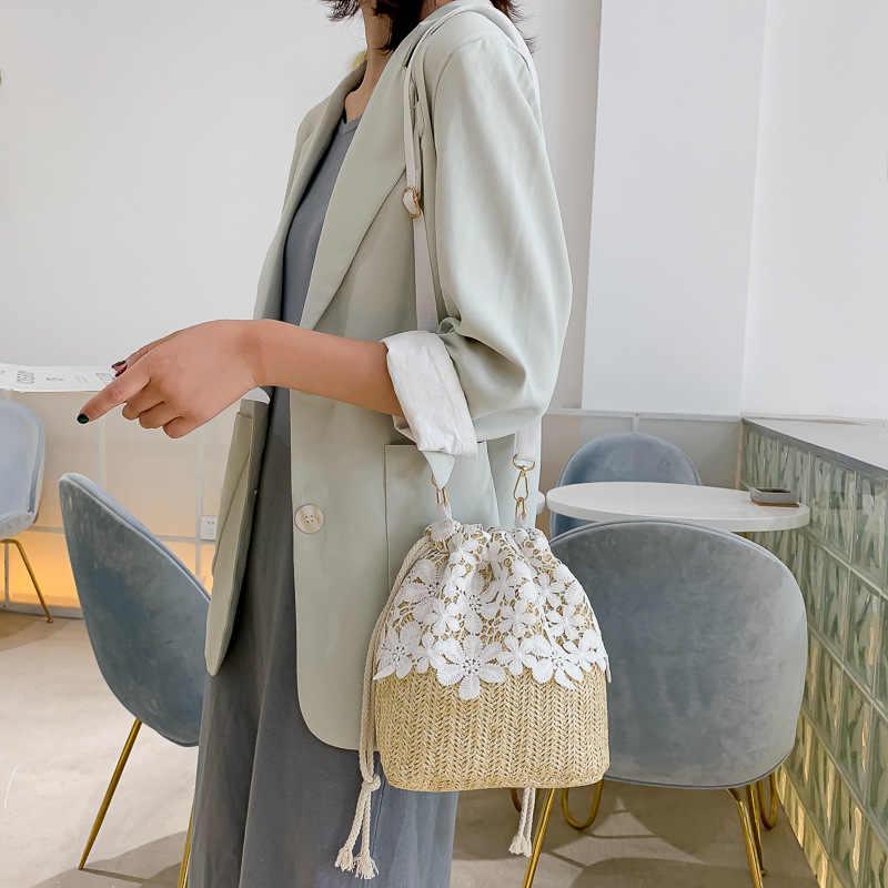 Wanita Fashion Wanita Tas Jerami Tren Renda Desainer Tas Selempang untuk Wanita 2019 Wanita Tas Tangan Wanita Bahu tas