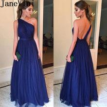 671c70dbd JaneVini Sexy tul una línea vestidos de noche largo Simple de un hombro  vestido de Abito Lungo azul marino fiesta vestido Formal.