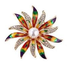 New Sun Flower Brooch Handmade Oil Painting Pearl  Elegant Temperament Collar Silk Scarf Buckle
