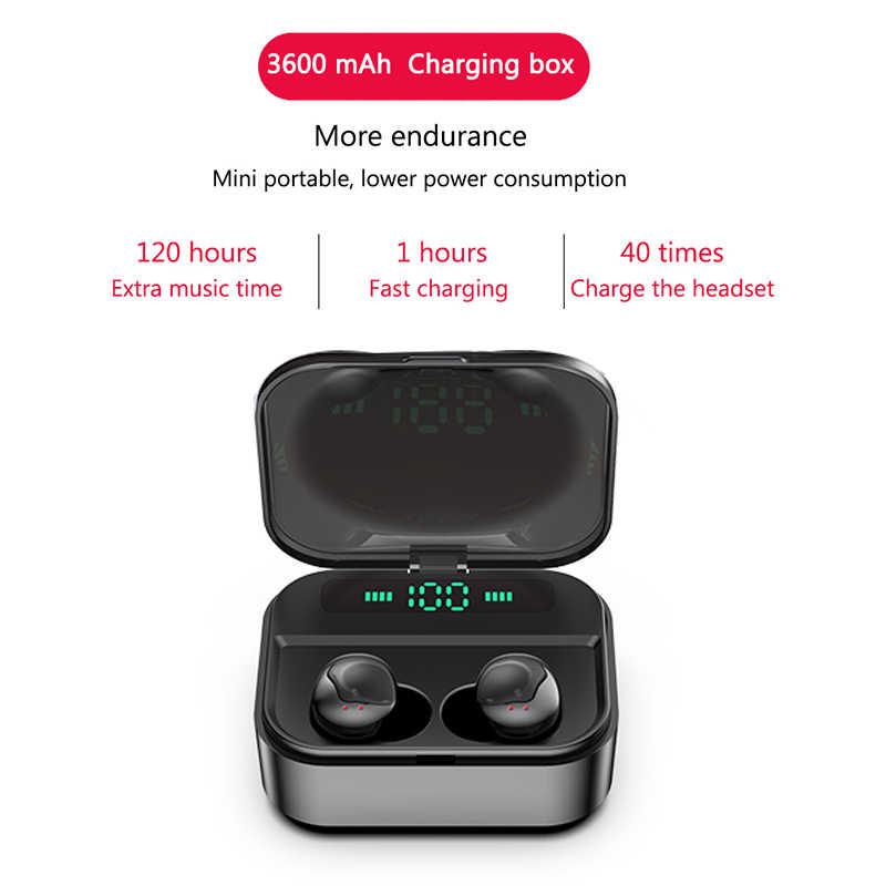 Dokunmatik TWS Gerçek kablosuz kulaklık Bluetooth Kulaklık Mini TWS Su Geçirmez Headfrees 3600 mAh Güç Bankası ile Tüm Telefon Için