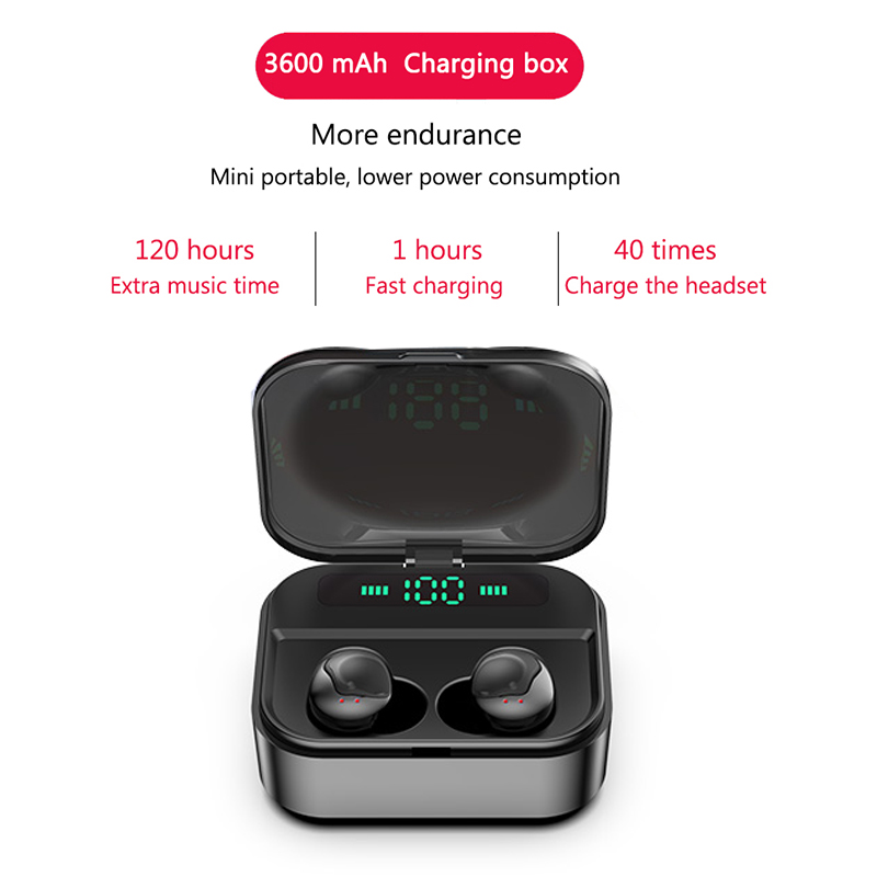 Touch TWS True Wireless Earbuds Bluetooth Earphones Mini TWS Waterproof Headfrees with 3600mAh Power Bank For All Phone