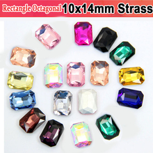 Wedding Decoration 10x14mm Crystals 50pcs Strass Clear Crystal Rectangle Octagonal Pointback Rhinestones for jewelry making