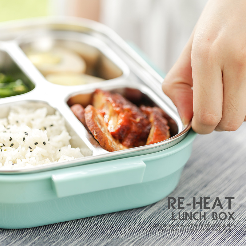 US $24 48 9% OFF|Fashion Lunch Box Stainless Steel Bento Box Portable  Double Layers Dinner Tableware Lunchbox Student Food Meal Box Container-in  Lunch