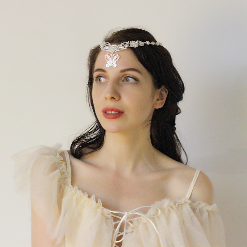 Handmade Luxury Pendant Necklace Women Headwear 999 Sterling Silver Vintage Banquet Jewelry Butterfly Flowers