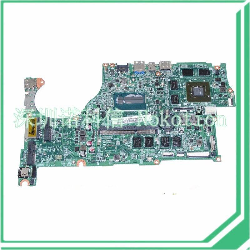 NOKOTION DAZRQMB18F0 REV F NBMCC11001 NB. MCC11.001 Pour acer aspire V5-573 V5-573G Carte Mère GeForce GT750M + i5-4200U