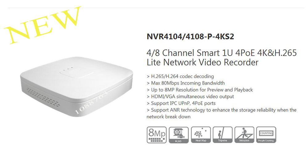 In Stock DAHUA Free Shipping 4Channel Smart 1U 4PoE 4K&H.265 Lite NVR without Logo NVR4104-P-4KS2 2014 new arrival dahua smart 1u nvr with p2p mini nvr nvr4104 nvr4108 nvr4116 free dhl shipping
