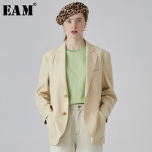 [EAM] 2019 New Spring Autumn Lapel Long Sleeve Yellow Brief Single Breasted Loose Jacket Women Coat Fashion Tide JQ638(China)
