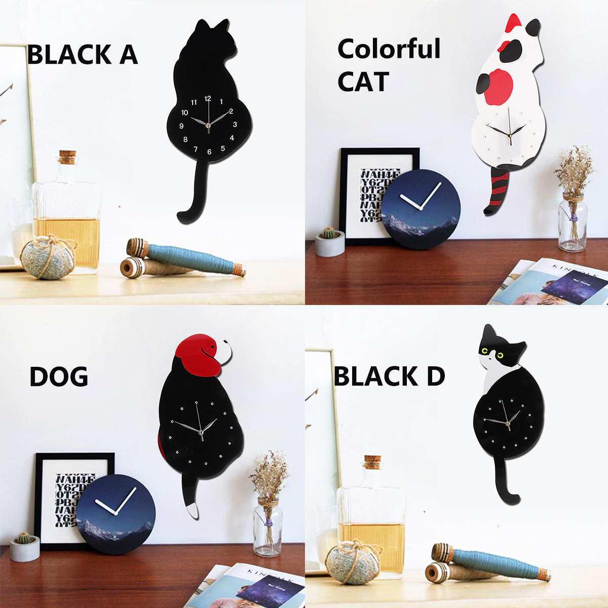 Cat Dog Animal Pattern Swing Tail Vintage Wall Clocks Bedroom Living Room Offlice Decor Wall Hanging Clock Without Battery