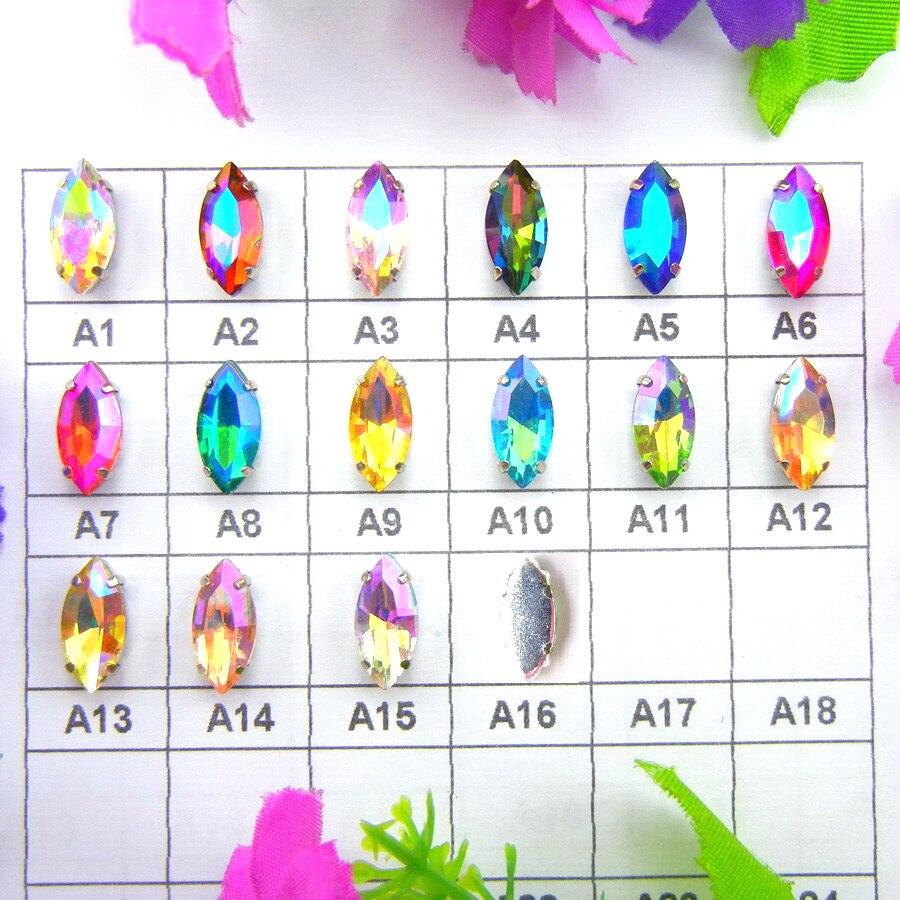 AB couleurs argent griffe réglages 8 tailles Navett forme coudre sur verre cristal strass perles robe de mariée accessoires bricolage garniture