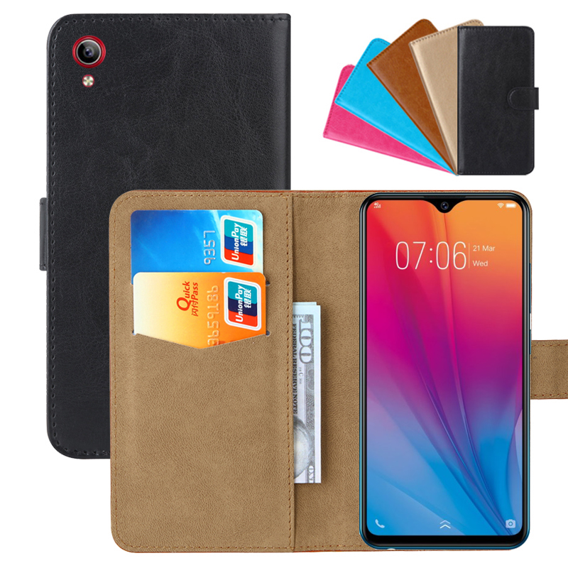 Luxury Wallet Case For Vivo Y91C PU Leather Retro Flip Cover Magnetic Fashion Cases Strap