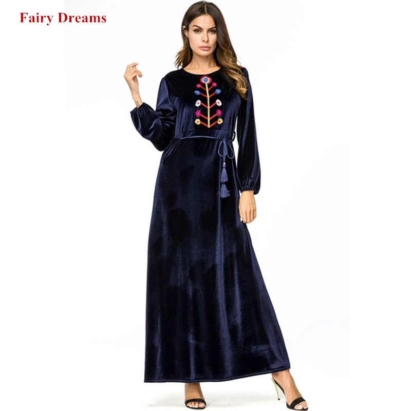 Velvet Muslim Dress Plus Size Dubai Abayas Women Embroidery Maxi Dresses Long Sleeve Turkish Robe Plus Size 4XL Islamic Clothing Одежда