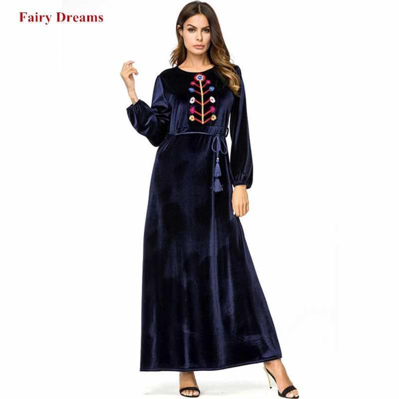 16ccefb85fe3 Бархатное мусульманское платье плюс размер одежда из Дубая Женская Вышивка  макси ...