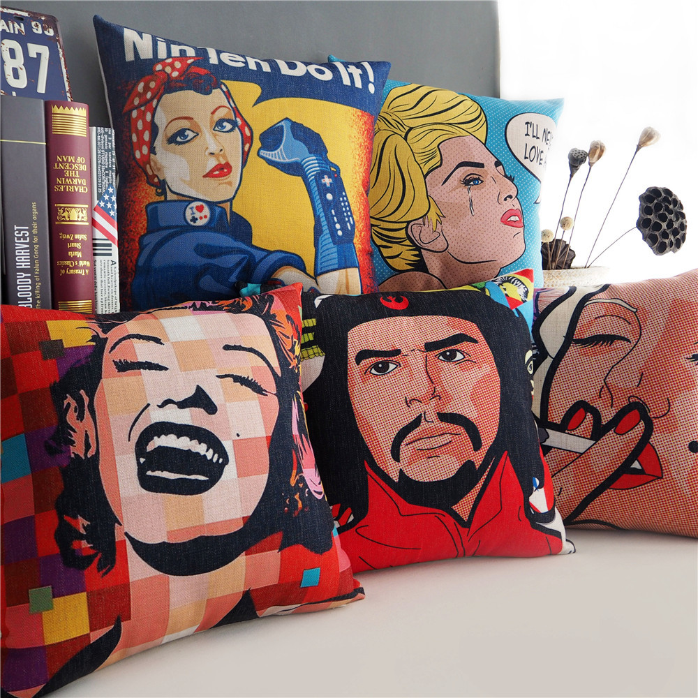 marilyn monroe che guevara cushion covers american pop art pineapple