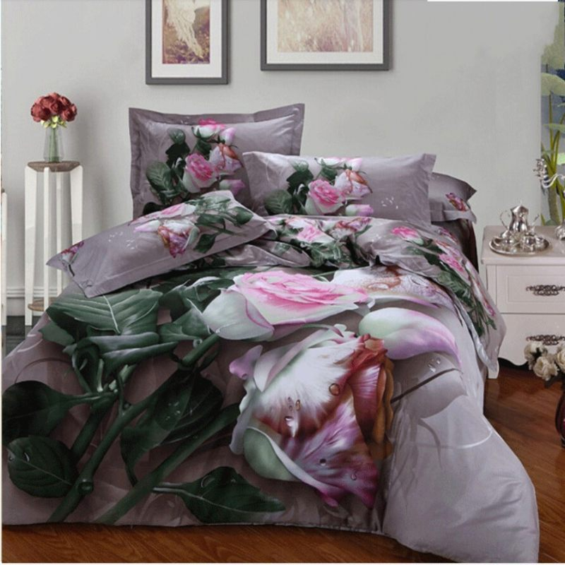 Pink Rose 3d juego de cama queen size 4 unids juego de cama edredón/duvet cubier