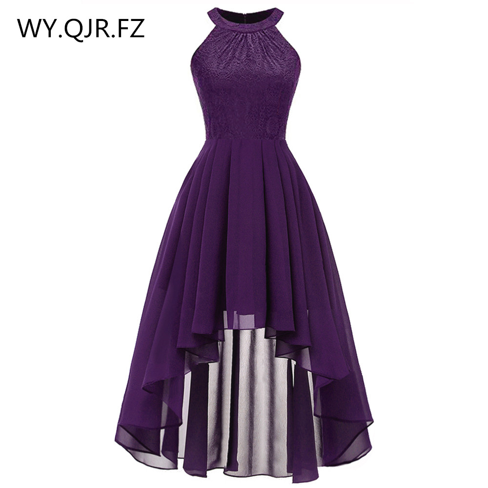 OML538#Neck Lace Chiffon Halter Bridesmaid Dresses Front High Back Low Dark Blue Fink Wine Red Violet Prom Party Dress Wholesale