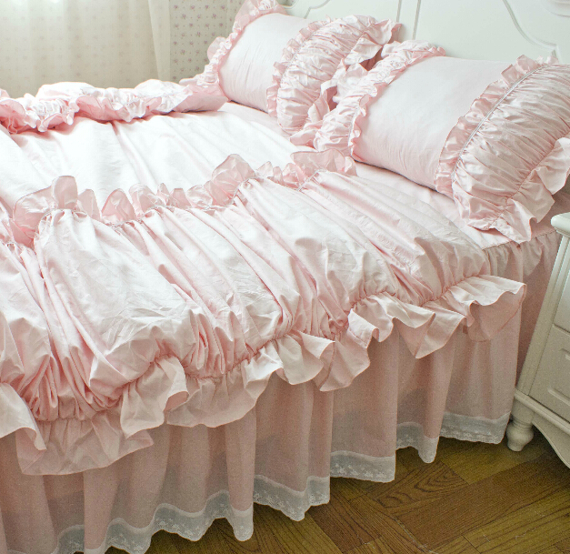 Online buy wholesale pink bedding from china pink bedding for King shams on queen bed