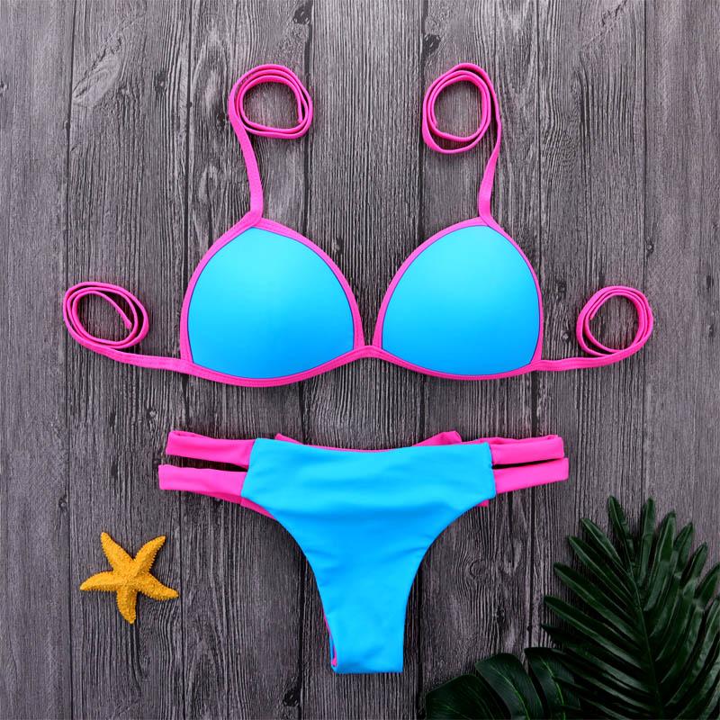 M&M 2018 Bow Tie Bikinis Women Swimwear Bikini Set Summer Female Solid Beachwear Surfing Bathing Suit Halter Top Biquinis