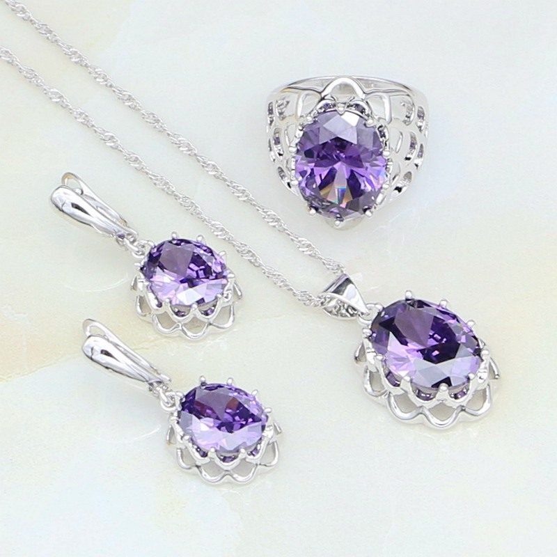 Natural Purple Zircon White Australian Crystal 925 Silver Bridal Jewelry Sets For Women Weedding Earrings/Pendant/Necklace/Ring