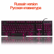 Russian Gaming Keyboard RGB Keyboards LED Backlit High Keycaps Ergonomics For Laptop Computer PC gamer Overwatch цена и фото