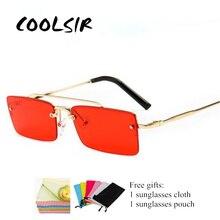 COOLSIR Retro Rectangle Sunglasses Men Metal Frame Gold Brown Red Semi Rimless Square Sun Glasses for Women 2019 Summer