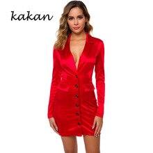 Kakan sexy button dress womens 2019 new fluorescent color autumn red phosphor green
