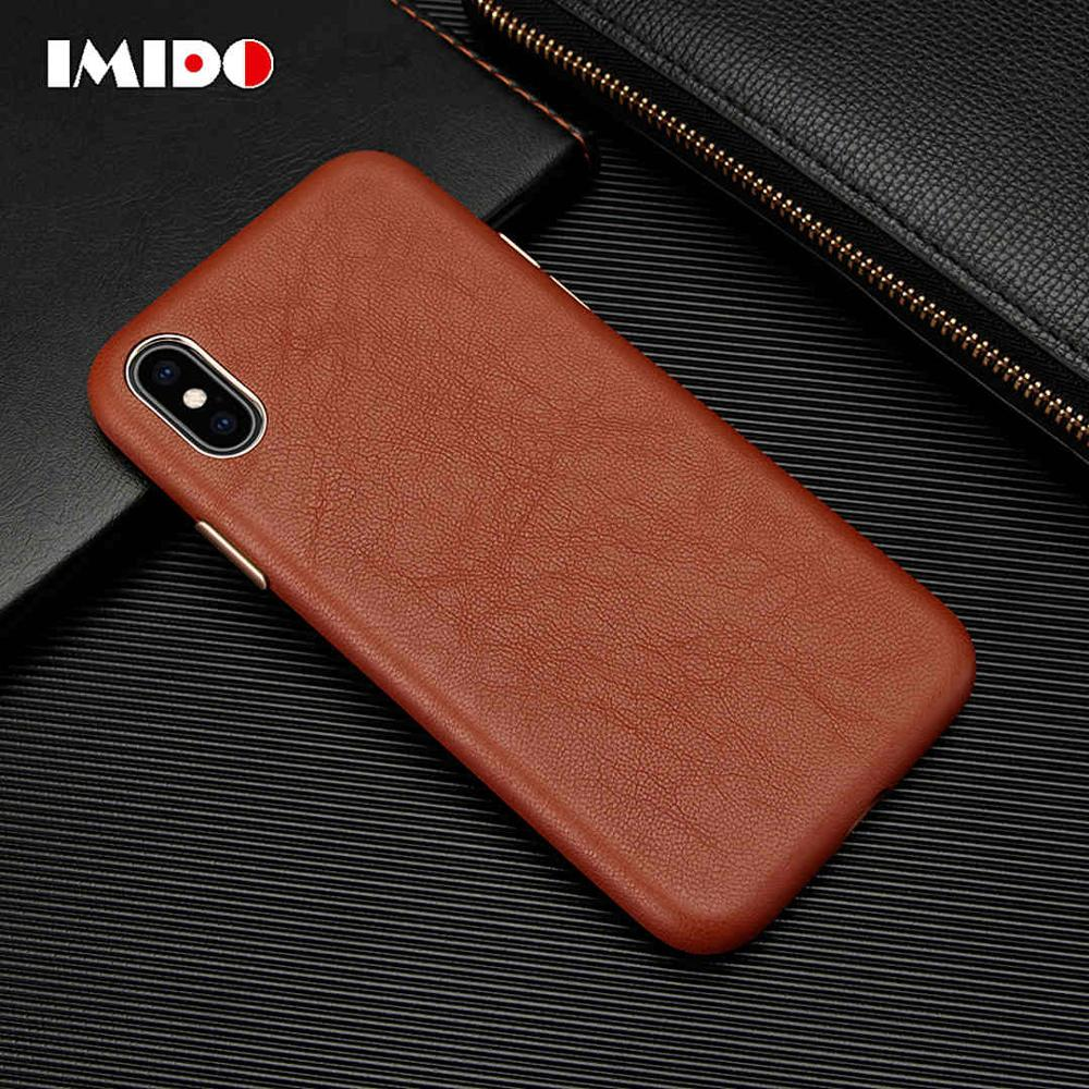 IMIDO Luxus Leder Telefon Fall Für iPhone XSMAX XR XS X 8 7 Plus Ultra-Dünne Schaffell Zurück Abdeckung für iPhone 7 Plus Coque Fundas