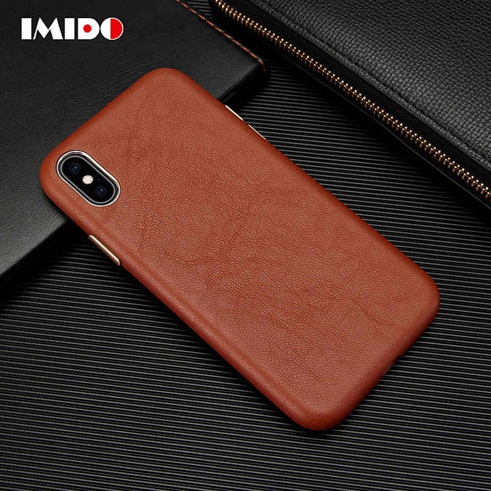 Imido caso de telefone de couro de luxo para iphone xsmax xr x 8 7 plus ultra-fino capa de pele de carneiro para iphone 7 plus coque fundas