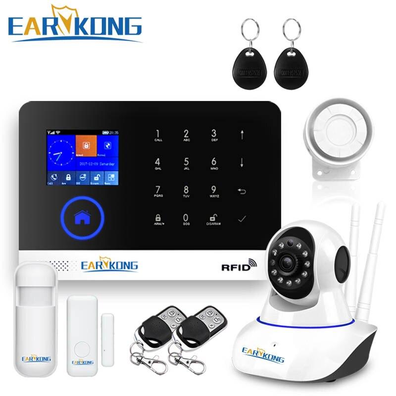 Wifi GSM APPLICATION RFID Sans Fil gsm de sécurité à domicile système d'alarme tactile clavier 433 mhz détecteur de porte alarme de capteur infrarouge PG-103 w2B
