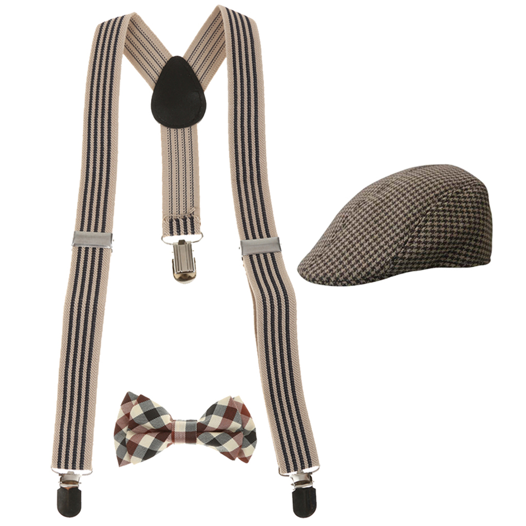 Fashion Kids Boys Stretchble Y-back Suspender Bowtie With 3 Adjustable Silvery Clips 2 Length Adjusters+Beret Cap Flat Hat Set