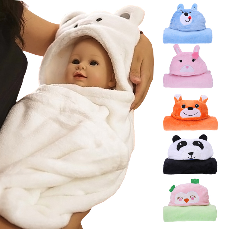 Newborn Baby Bathrobe Pajamas Cute Animal Cartoon Infants Kids Blanket Hooded Bathrobe Sleepers Toddler Comfortable Bath Towel