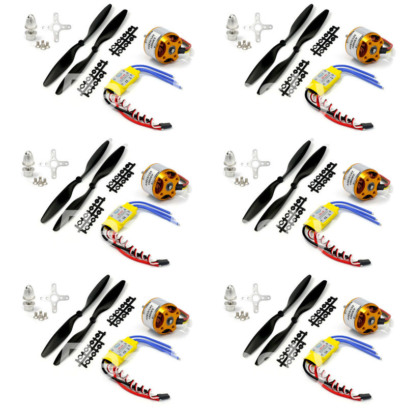 6set/lot A2212 1000KV Brushless Outrunner Motor +30A ESC+1045 Propeller Quad-Rotor Set For F550 S550 F450RC Aircraft Multicopter