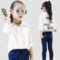 Camisas blusa infantil para niños carta ropa infantil camisa niños trajes uniformes escolares 2t-12 baby clothing moda niños tops