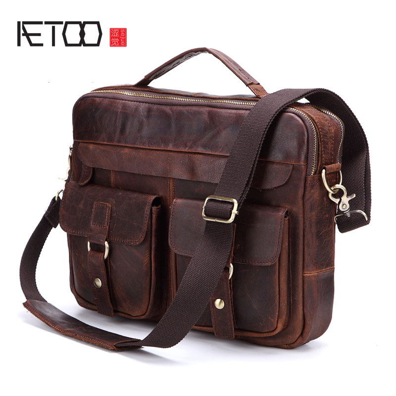 AETOO The new mad horse leather leather men and women in Europe and the United States trend of retro handbag casual shoulder ram aetoo europe and the united states fashion new men s leather briefcase casual business mad horse leather handbags shoulder