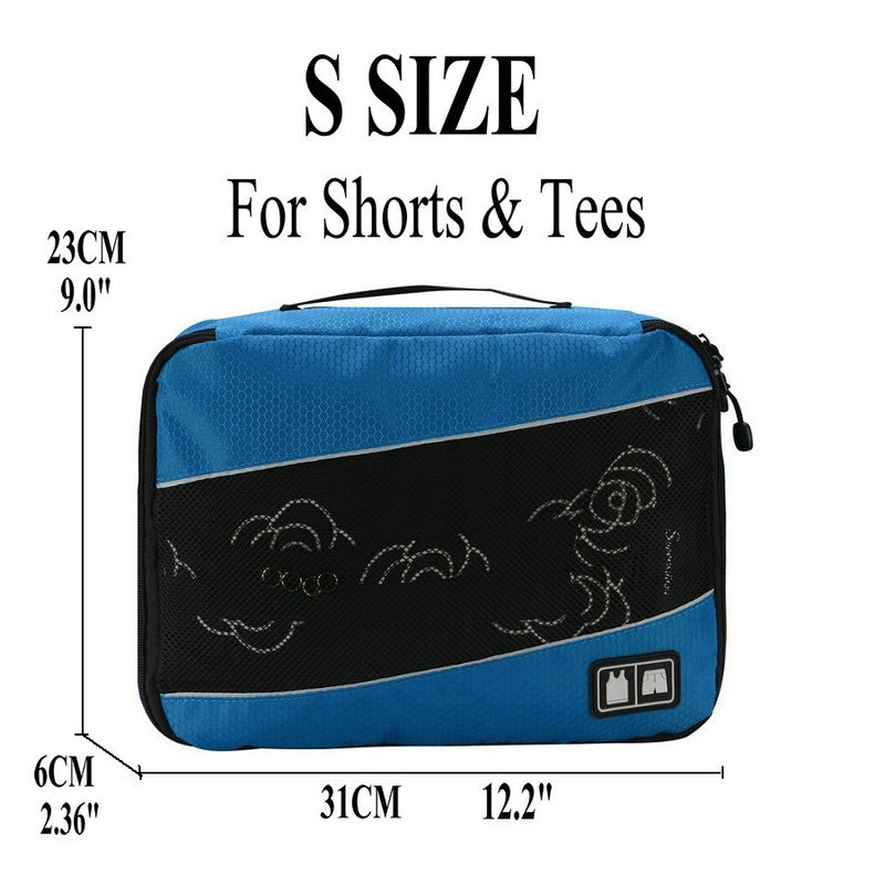 Soperwillton упаковочные кубики, нейлоновая дорожная сумка-Органайзер, Воздухопроницаемая сетчатая дорожная сумка для мужчин и женщин, органайзер для путешествий - Цвет: Blue S