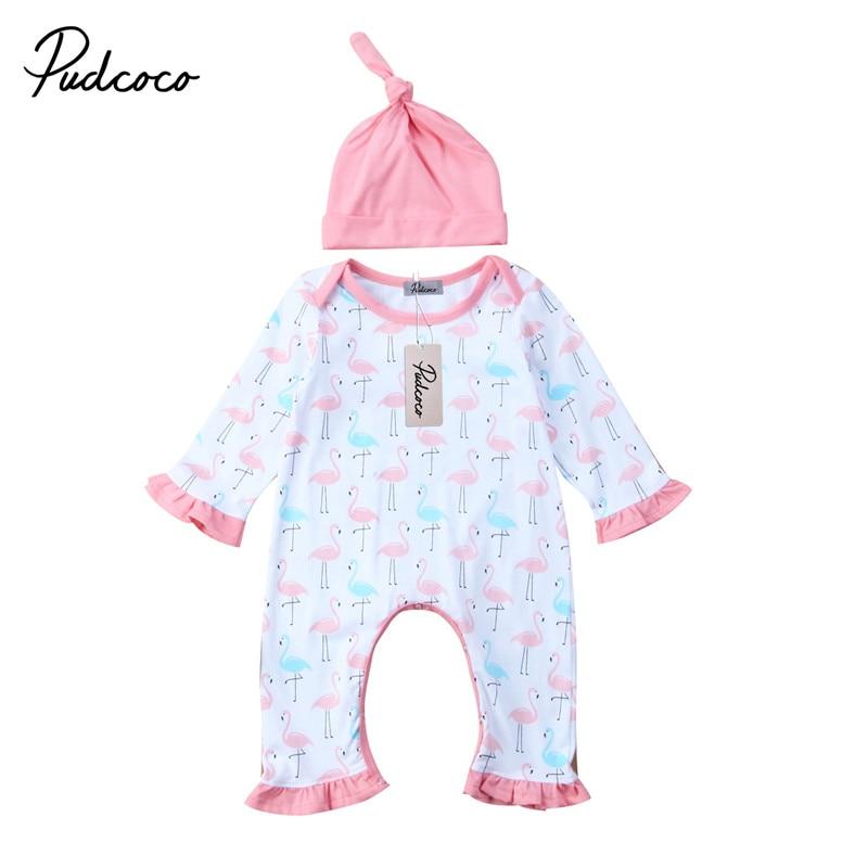 От 0 до 24 м новорожденных Одежда для маленьких девочек Новый стиль симпатичный комбинезон с длинным рукавом + шляпа комбинезон хлопок компле...