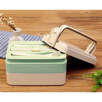 Wheat Straw Lunch Box Three Layer Bento Box Eco-friendly Natural
