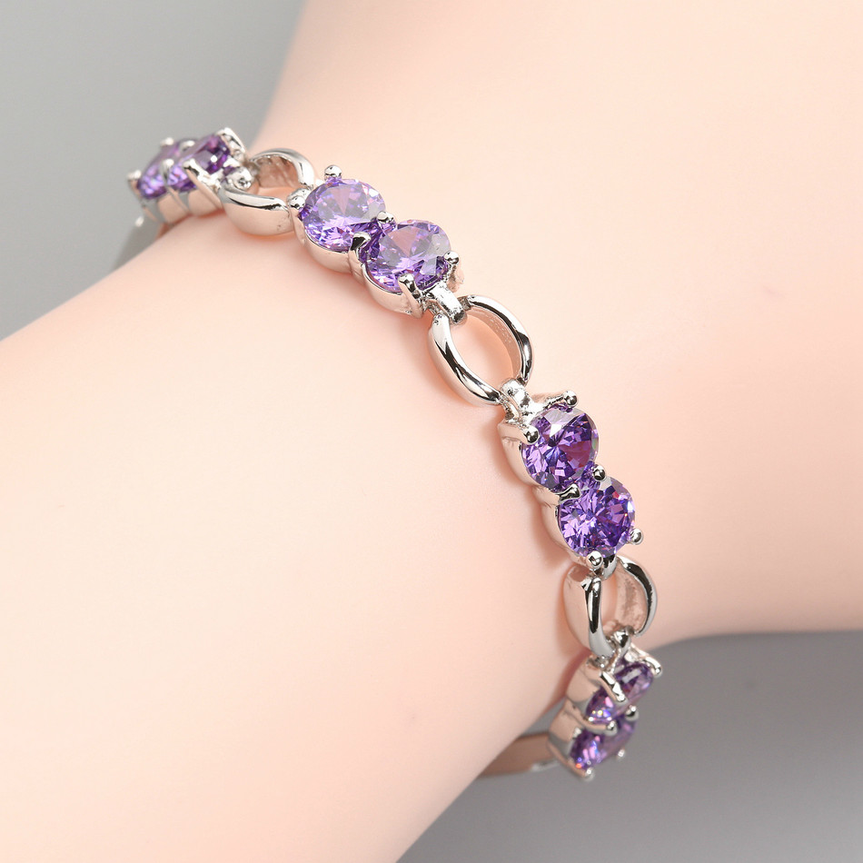 Noble 5*5mm Purple Stone Fadeless No allergy Silver love Bracelet BY0015