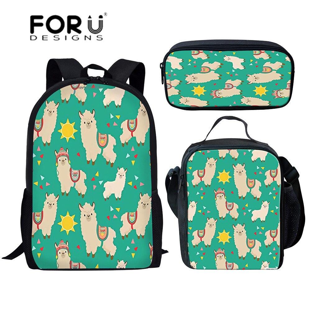 FORUDESIGNS School Bags For Girls Cute Animal Alpaca Printing Schoolbag Children Shoulder Bookbags Kids 3pcs/set Primary Satchel