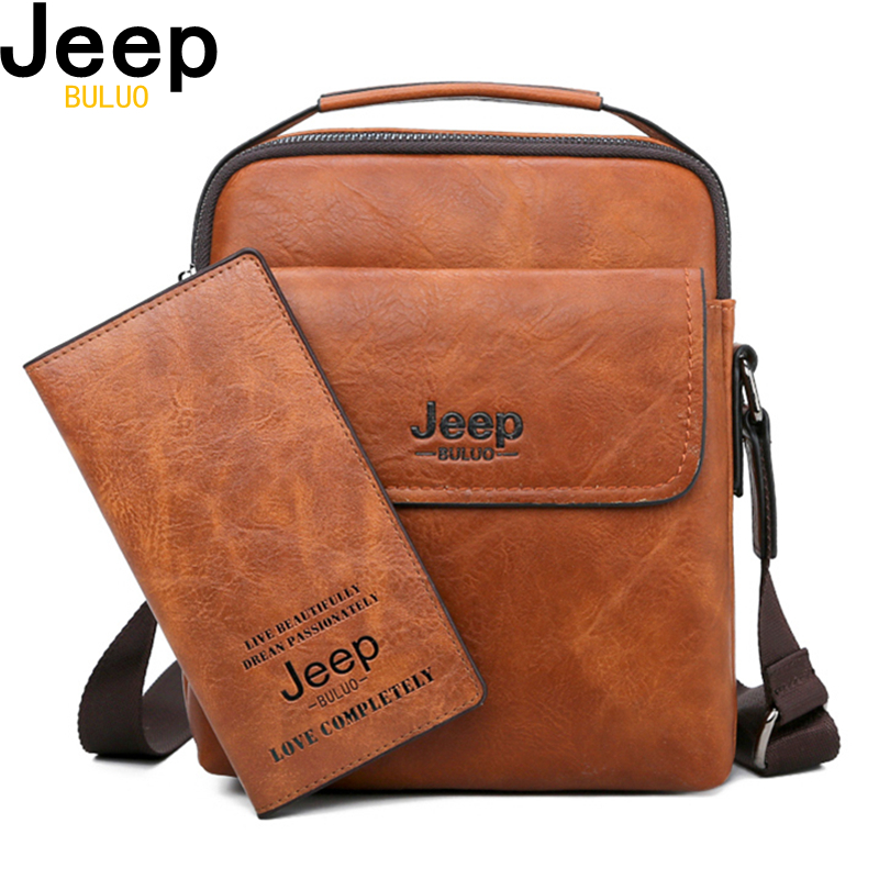 JEEP BULUO Men Shoulder Bags High Quality Man's Messenger Bag Casual Split Leather Crossbody Bags For Men Tote Bags New 2PC/Set