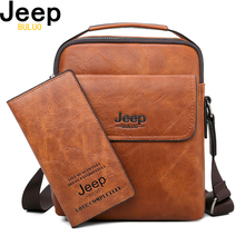 JEEP BULUO Men Shoulder Bags High Quality Mans Messenger Bag Casual Split Leather Crossbody For Tote New 2PC/Set