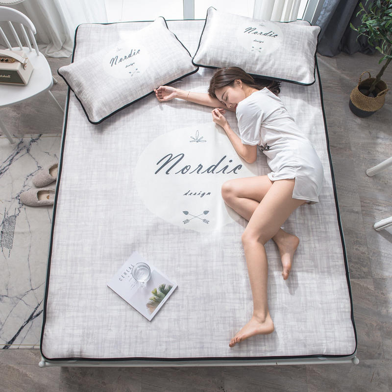 Summer Ice Cool Mat Bedding Set White Gray Color Pattern 3pcs Flat Bed Sheet Pillowcase Set