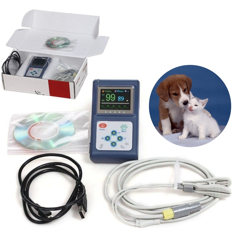 Vet pulse oximeter Handheld Spo2 Monitor Pulsoximeter Blood Oxygen Monitor with Veterinary probe for Amimals Pets USB Software pc 60nw oximetro de dedo pulse oximeter blood saturometro monitor spo2 pr oximetro de pulso portable pulsioximetro