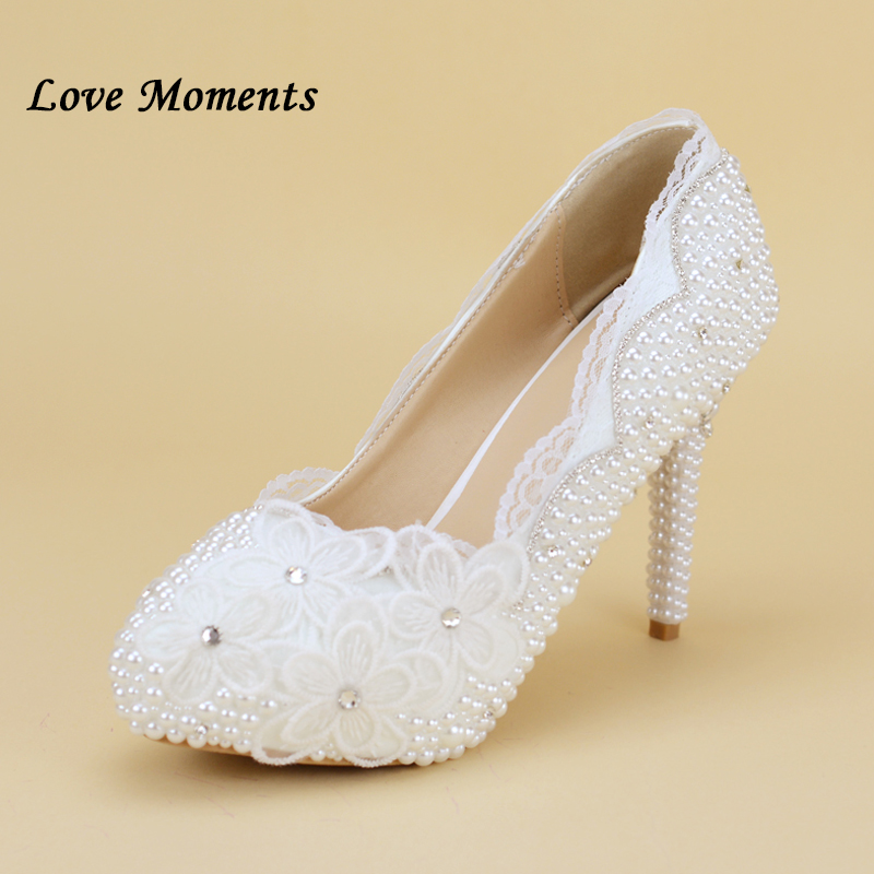 White Lace Women Plus Size High Heel Wedding Shoes Bride Crystal