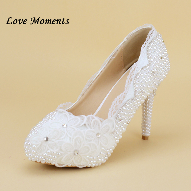 020836c14 White lace women plus size high heel wedding shoes bride crystal dress shoes  handmade shoes women s waterproof platform shoes