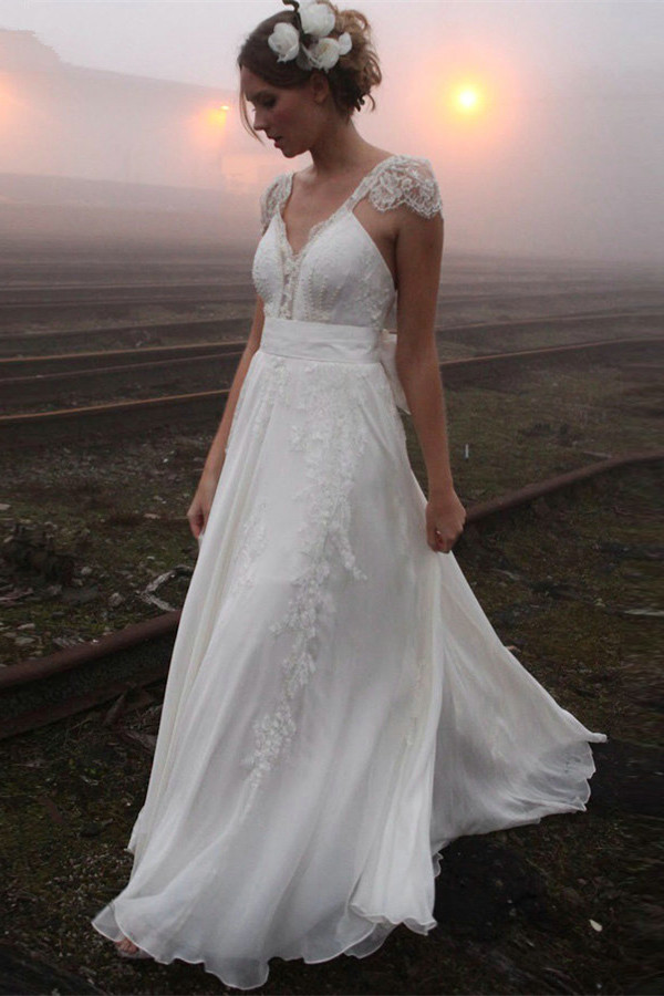 Beach Wedding Dresses Long Bridal Robe De Mariee Bridal Gowns Boho ...